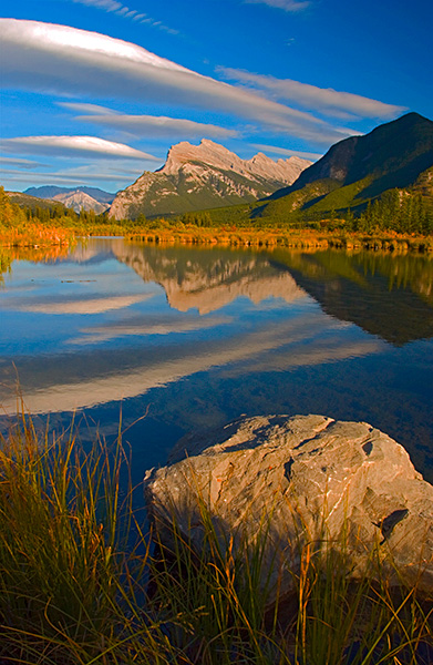 Vermilion Lakes with Mt. Rundle reflected in the background found just west of Banff, Alberta, Canada